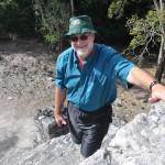 Climbing on Mayan ruins