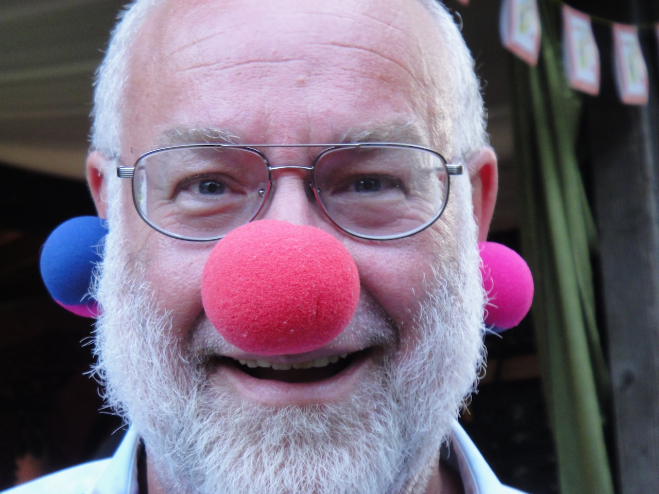 In addition to red clown noses, he created two bicolored pink-and-blue ones, probably the only ones in existence