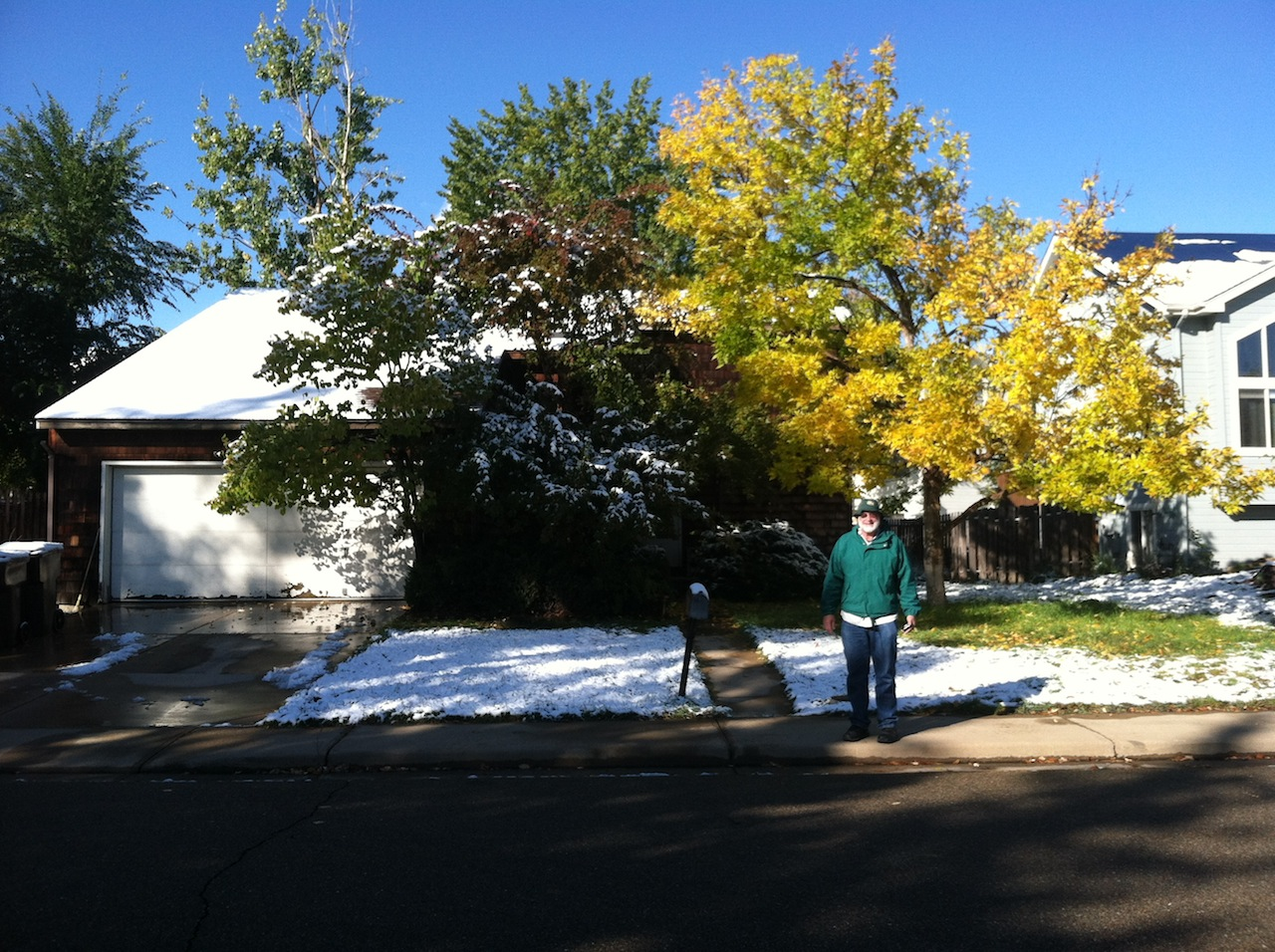 A surprise October snowfall in Boulder, and Philip's brother Bob's house