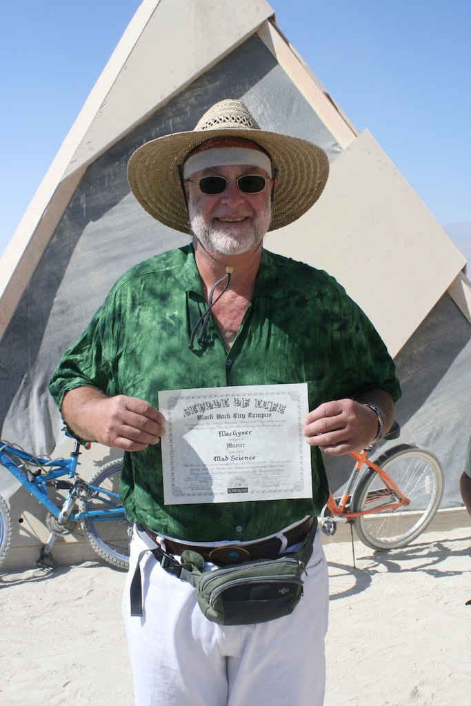 Receiving his Master's in Mad Science at Burning Man in 2011