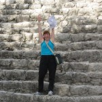 I made it! Meps successfully makes it down from Coba. The giant steps were not made for my short legs.