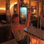 Our beach bar had swings instead of barstools.