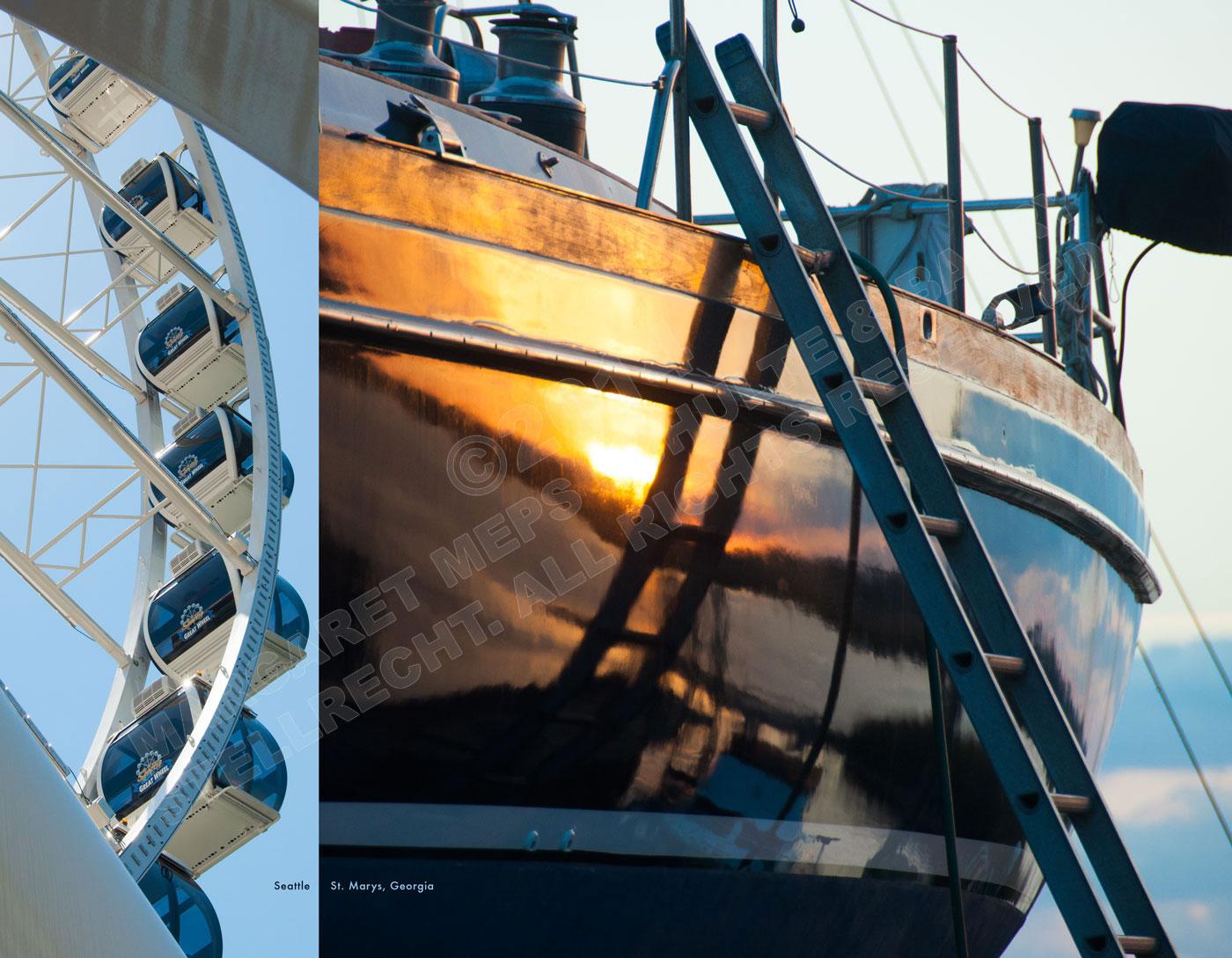 Great Wheel, Seattle; boat reflection, St. Marys, GA.