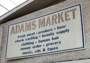 Adams Market sign