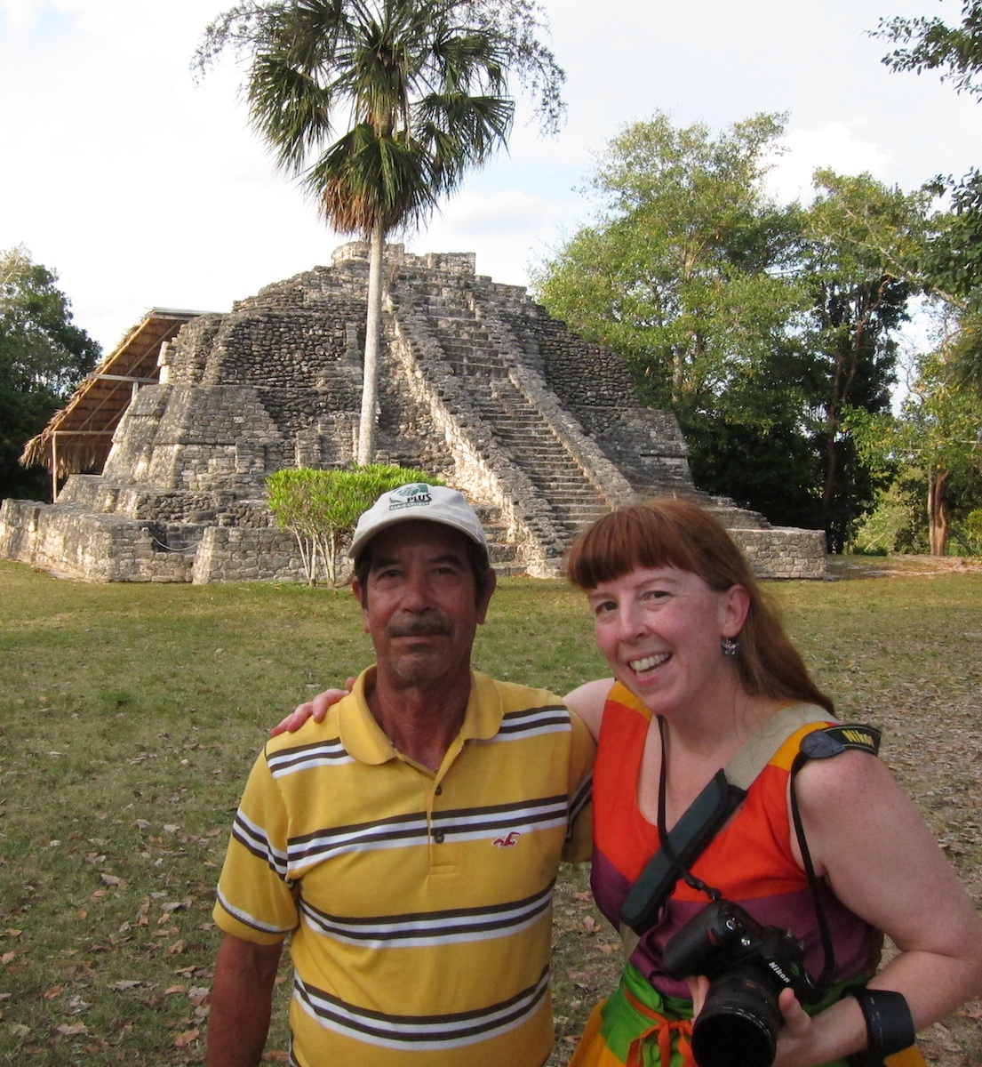 Philip's personal photographer, Margaret, with the Commander of Chacchoben. Photo by Philip Wilson.