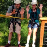 Cody and Julie on the zipline platform