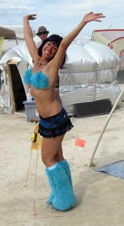 The aqua girl in the Happy Spot