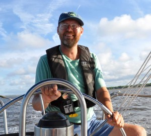Barry at the helm of Flutterby