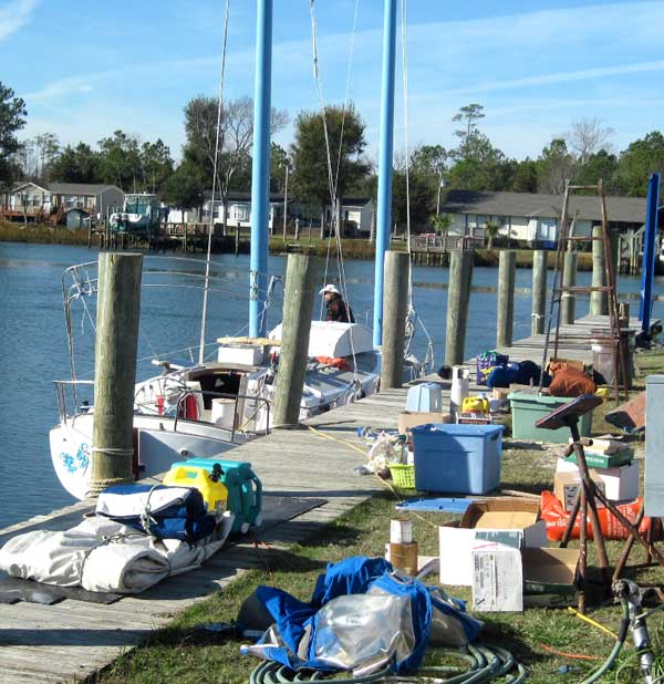 Flutterby's non-yard sale on the dock
