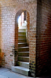 Brick staircase inside Fort Clinch