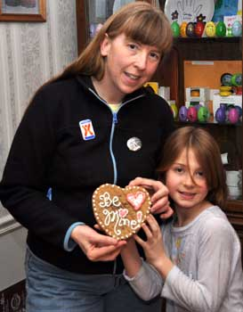 Becky and I show off the cookie that I decorated