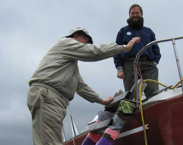 Dad navigates the ladder onto Flutterby