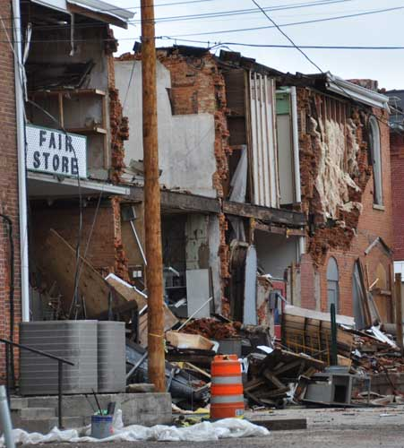 Tornado-damaged buildings in Elmwood, Illinois