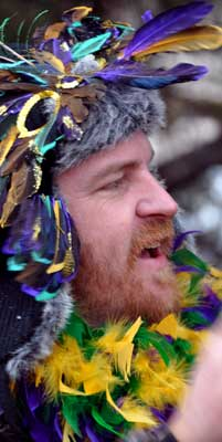 Man in feathers