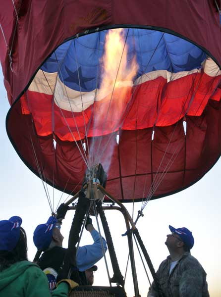 Heating the air inside the balloon