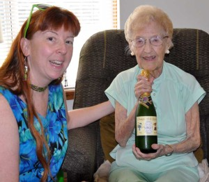 Meps and Grandma, with the champagne bottle