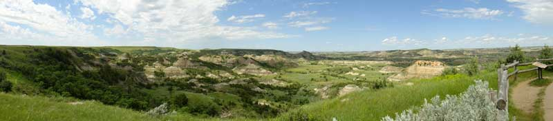 Panoramic image of Theodore Roosevelt National Park overlook