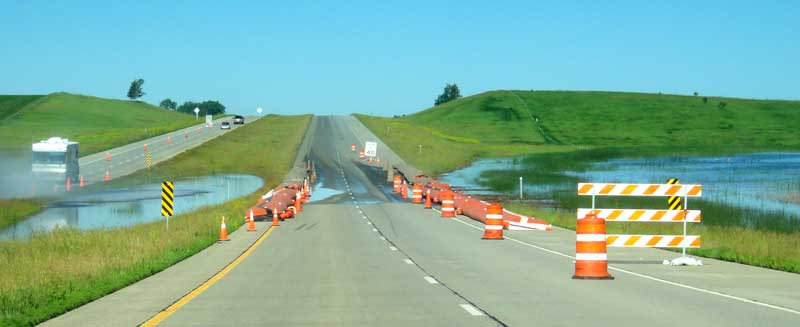 Water over I-94 in North Dakota