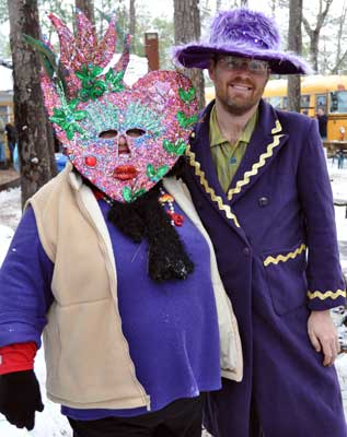 This lady makes a special mask for the event each year