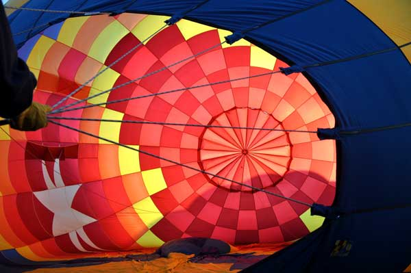 Looking inside a balloon on the ground
