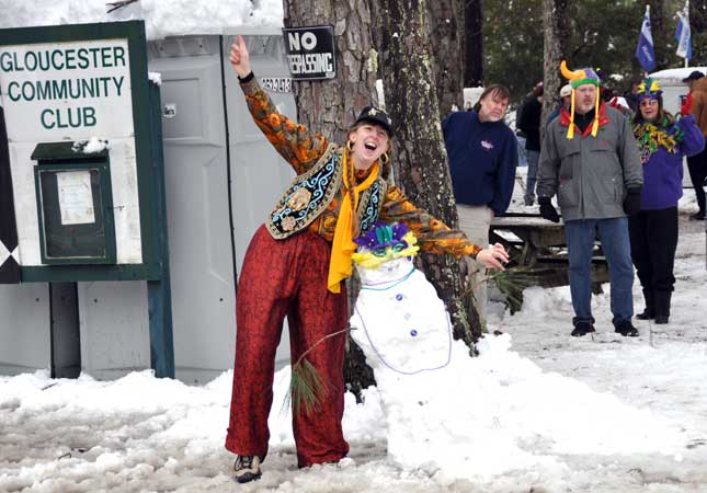 Margaret poses with the Official Mardi Gras Snowperson