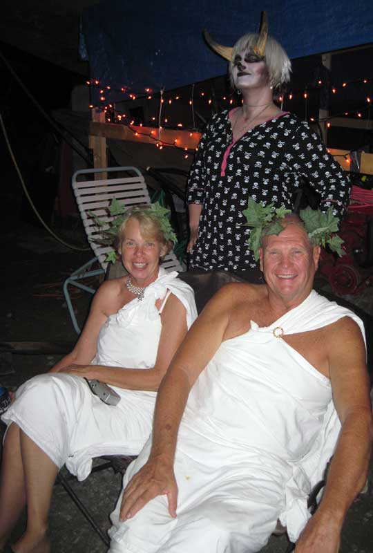 Val and Harold brought the toga theme, which went well with Celeste's Pan look.
