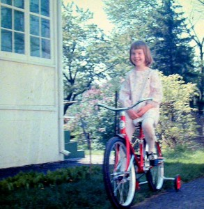 Margaret on her first bike.