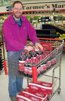 Loading a grocery cart with Cheerwine