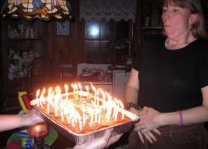 Birthday cake with too many candles