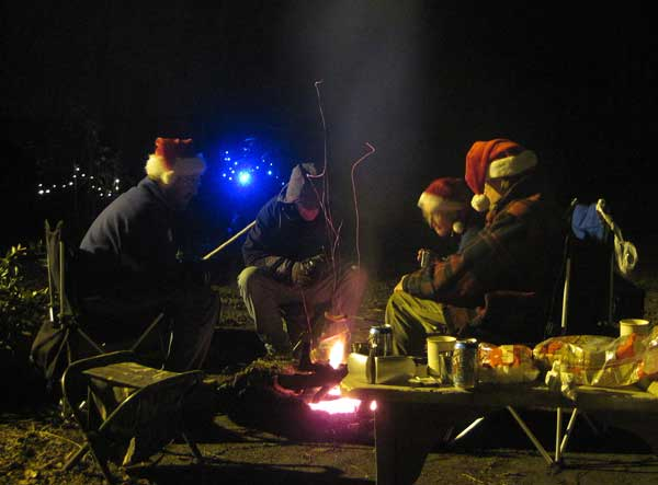 Our solstice bonfire - Barry, John, Marilyn, Philip