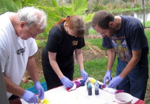 Dave, Meps, and Barry making tie-dye