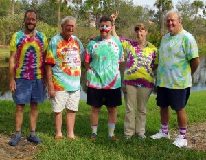 The whole gang in their tie-dyed shirts