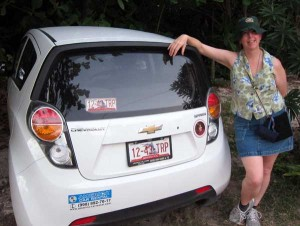 Meps standing next to Mexican rental car