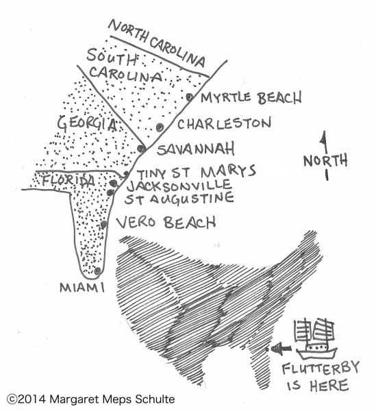 Map of the US and southern states showing St. Marys, Georgia
