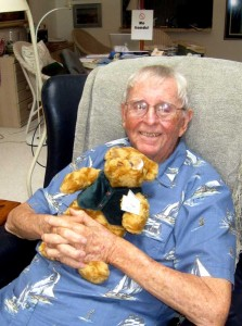 Dad with his teddy bear