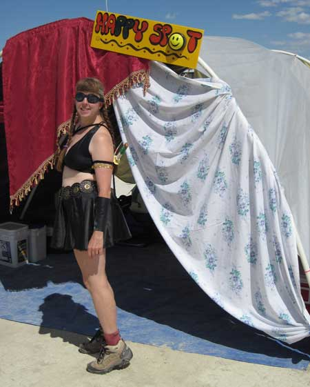 Meps dressed as Xena at the Happy Spot