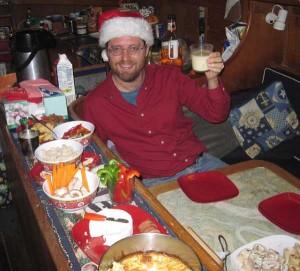 Barry on Christmas Eve aboard Flutterby