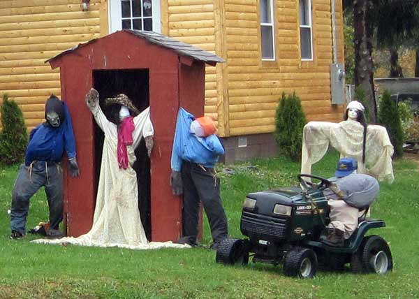 Some of the 28 scarecrows in one yard in West Virginia